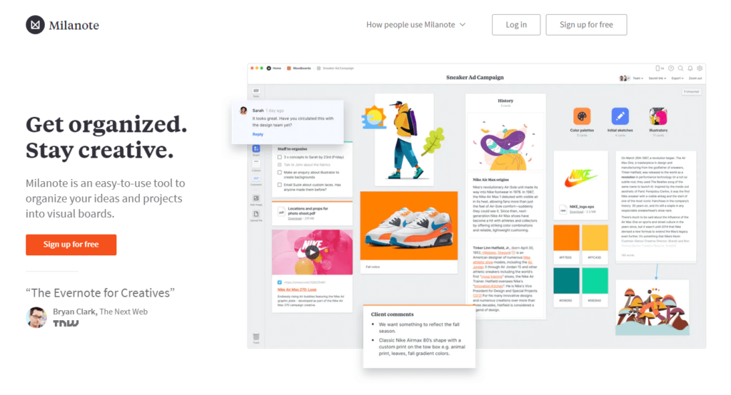 Milanote is a tool for organizing creative projects into beautiful visual boards